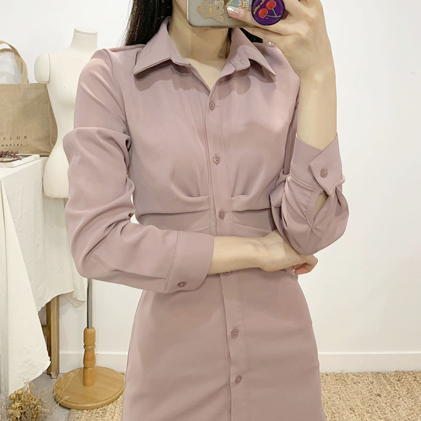 Shubeli Shirring Shirt Mini Dress