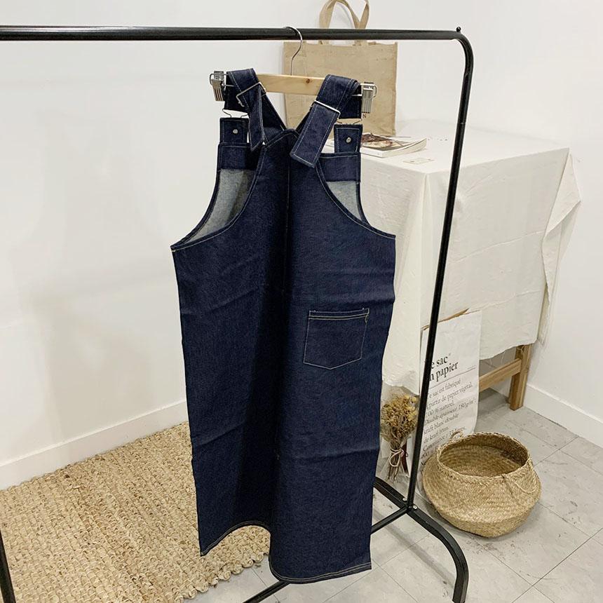 Lohai denim suspenders long dress