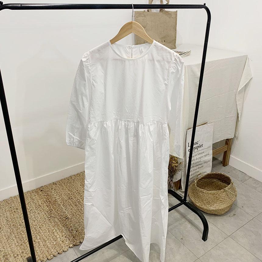 Yorlei Round Neck Puff Long Dress