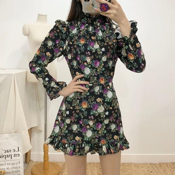 Hayden frill flower mini dress 2colors