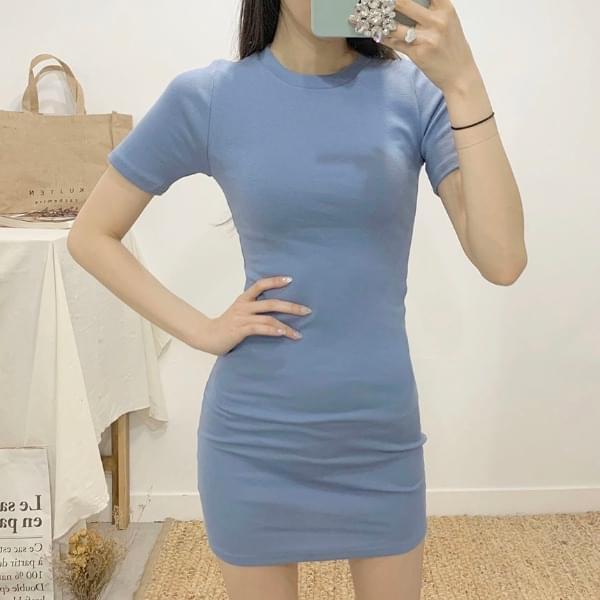 Halif Round Neck Short Sleeve Mini Dress