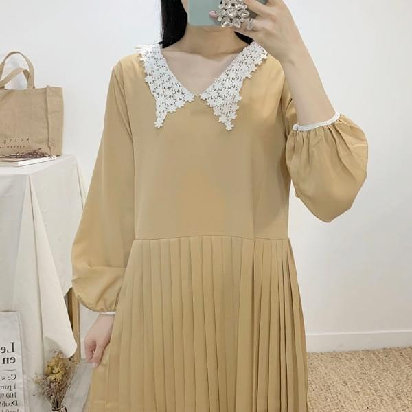 Jaina V-neck pleated long dress