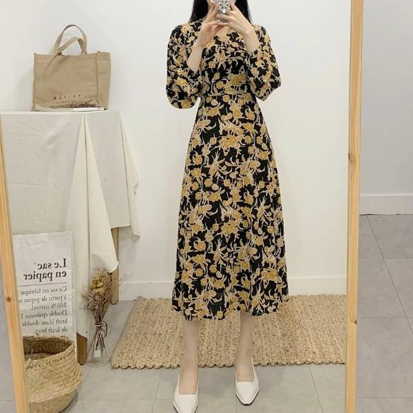 Elpoti V Neck Wrap Flower Long Dress