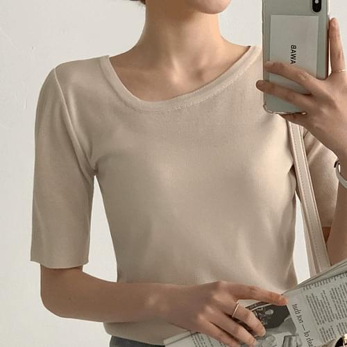 Half Unvalve Short Sleeve Knit