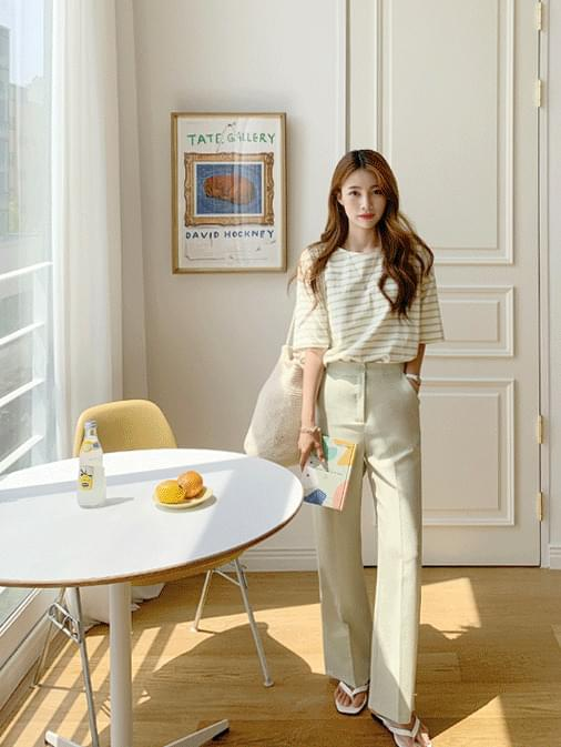 Teach-stripe short-sleeved T-shirt