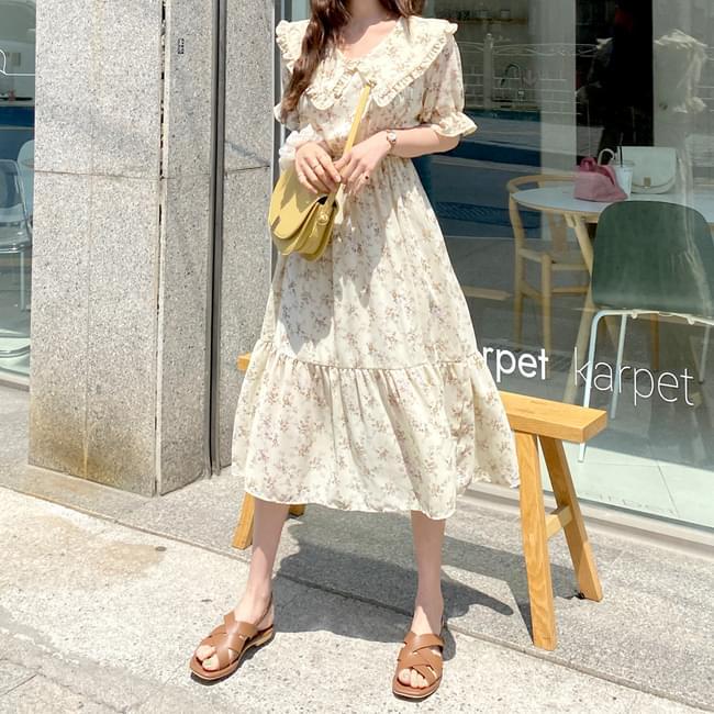 Good luck frill color flower dress