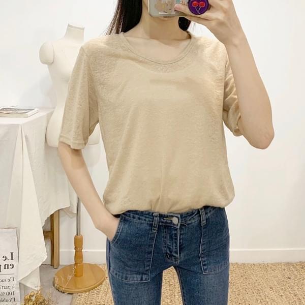 Est Linen U-neck Short Sleeve T-Shirt