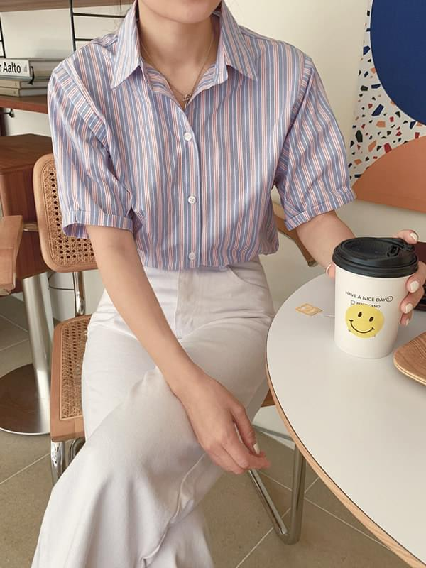 MMMM / Fall Stripe Roll Up Short Sleeve Shirt