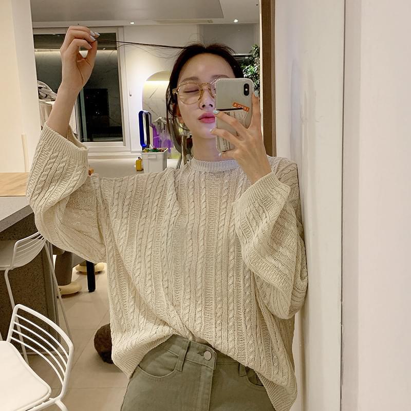 시스루 패턴 knit (*3color)