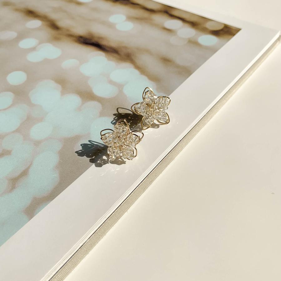 Shining Flower Gold Line Earrings