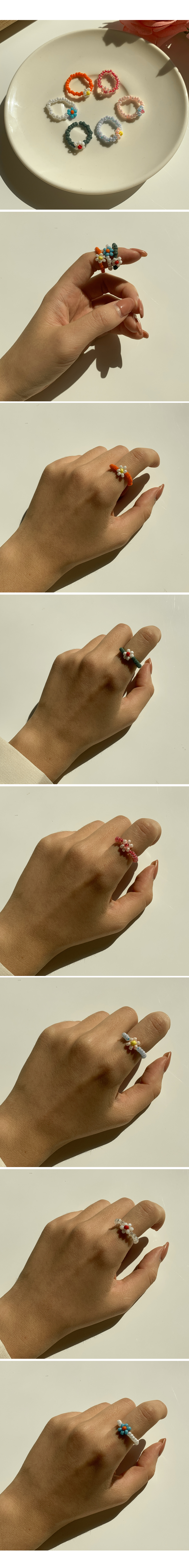 Handmade beads flower smile ring