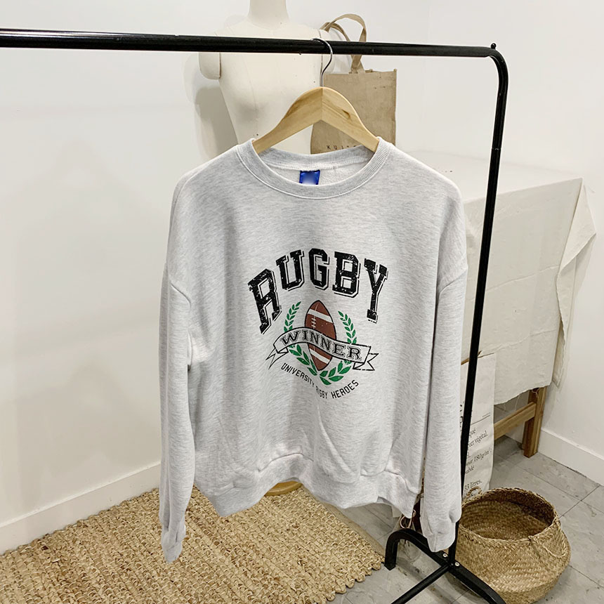 Rugby printing round neck man-to-man