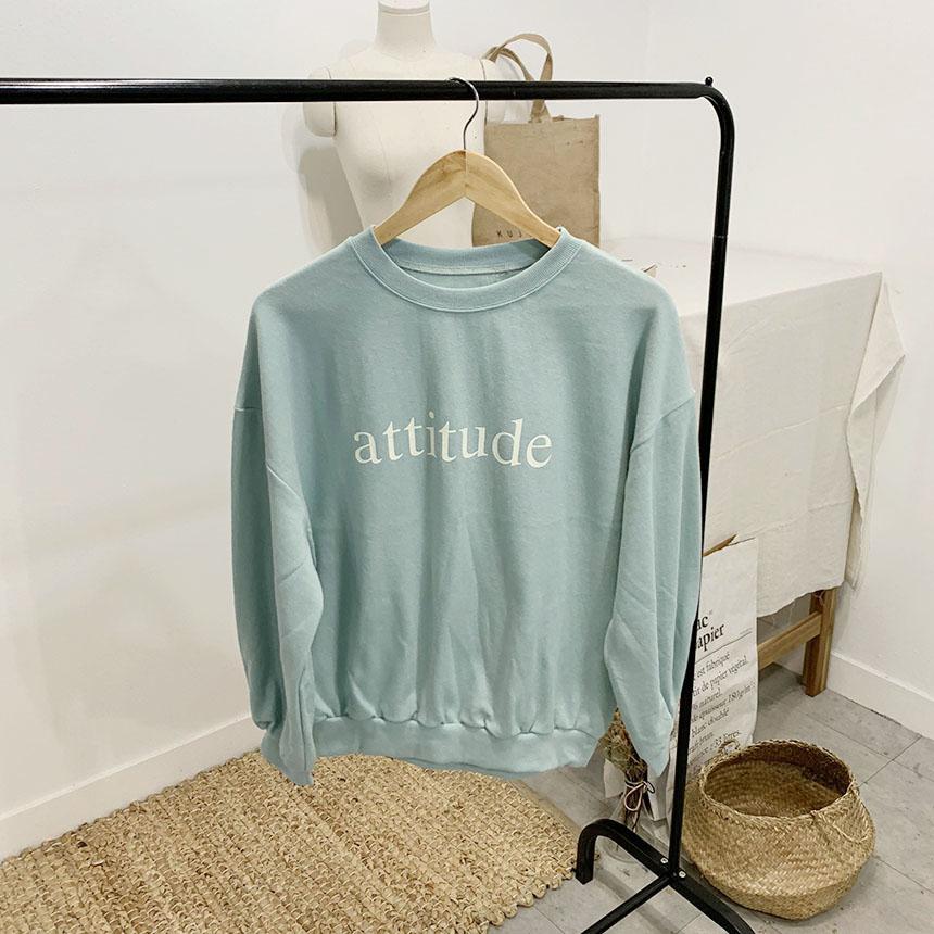 Etiquette lettering round neck sweat shirt