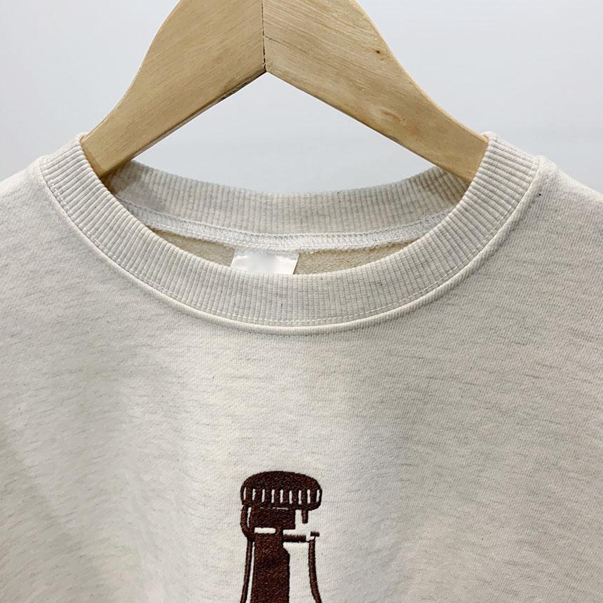 Cork embroidery round neck balloon man-to-man