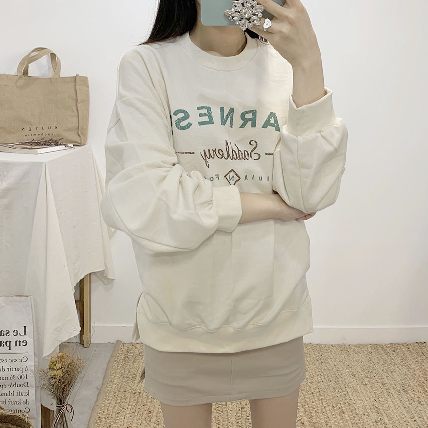 Harness lettering round neck sweat shirt