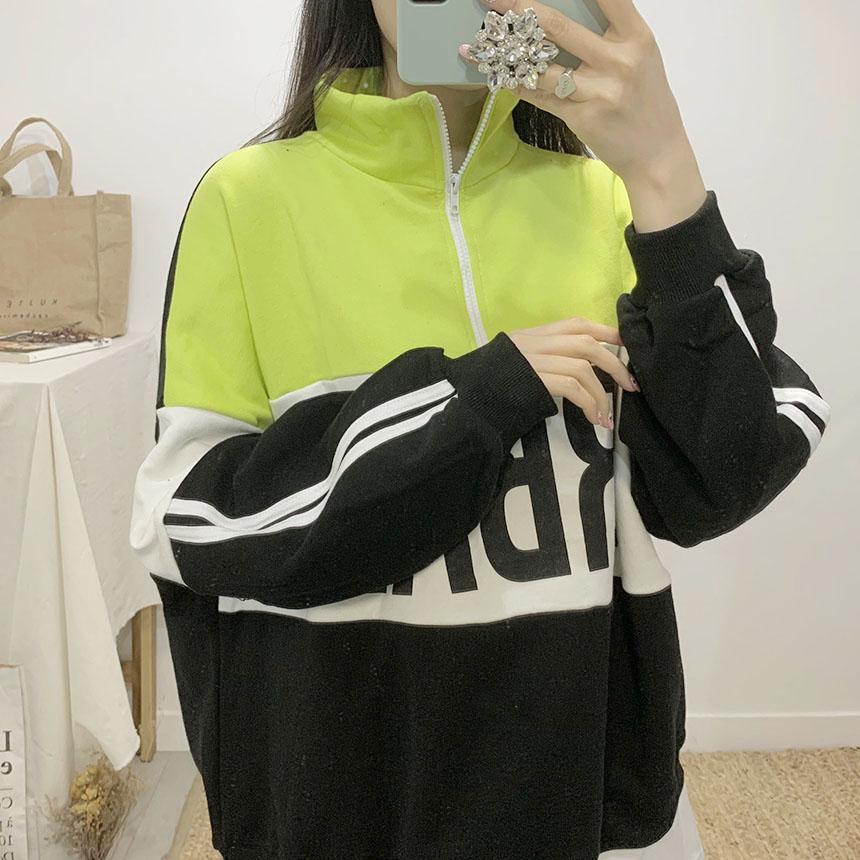Urban color lettering anorak sweat shirt