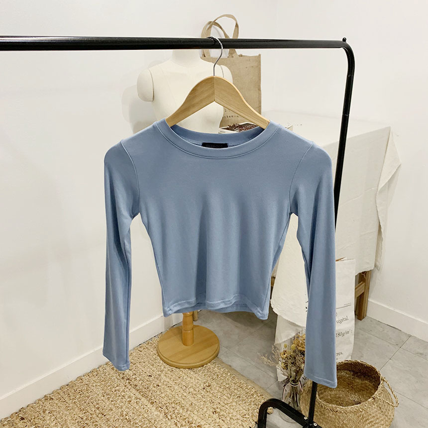 Schudner round neck cropped long-sleeved T-shirt