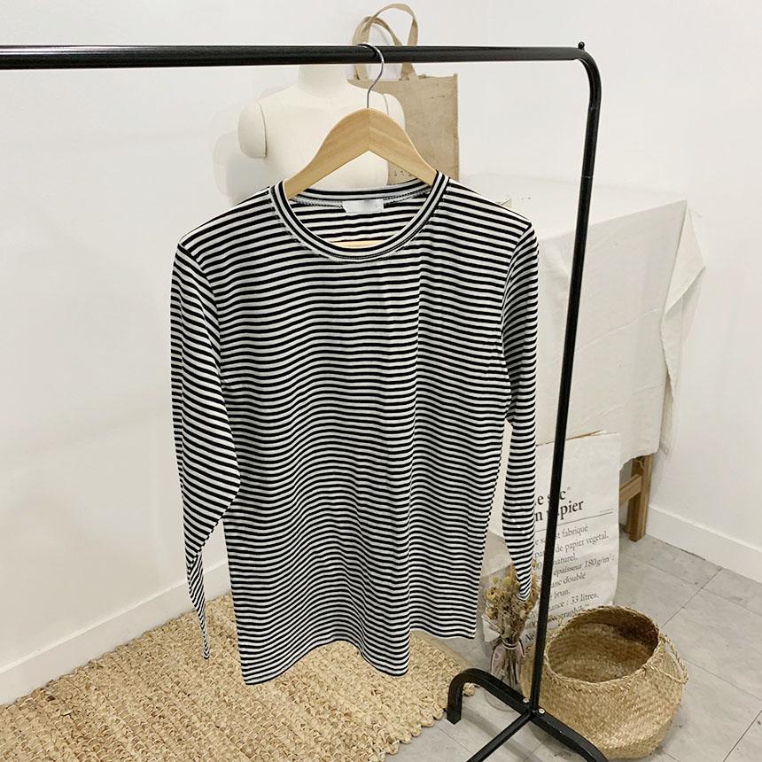 Bennett's striped round neck long sleeve t-shirt