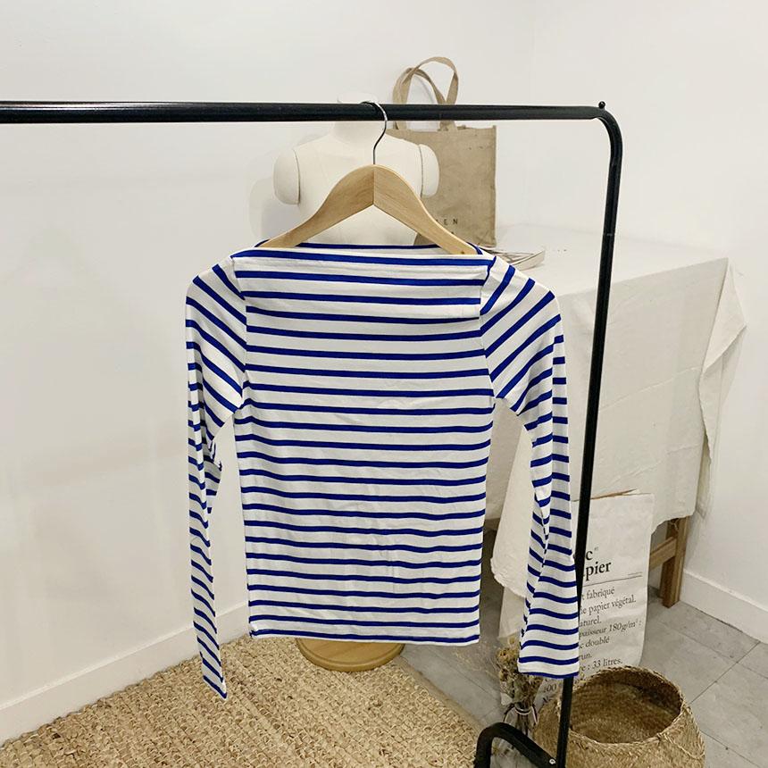 Blanc Striped Boat Neck Long Sleeve T-Shirt