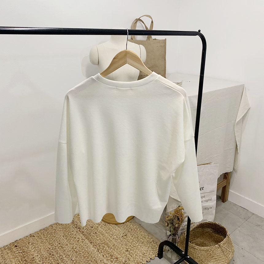 PittsL cutting round neck long sleeve t-shirt