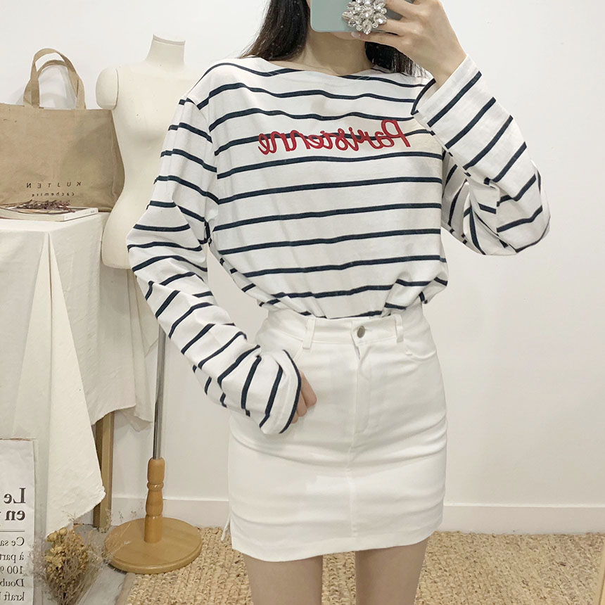 Parisian lettering striped long-sleeved T-shirt