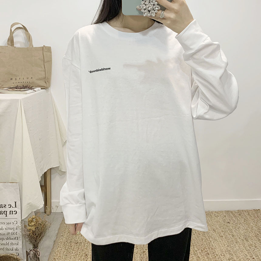 Wide Web Lettering Round Neck Long T-Shirt