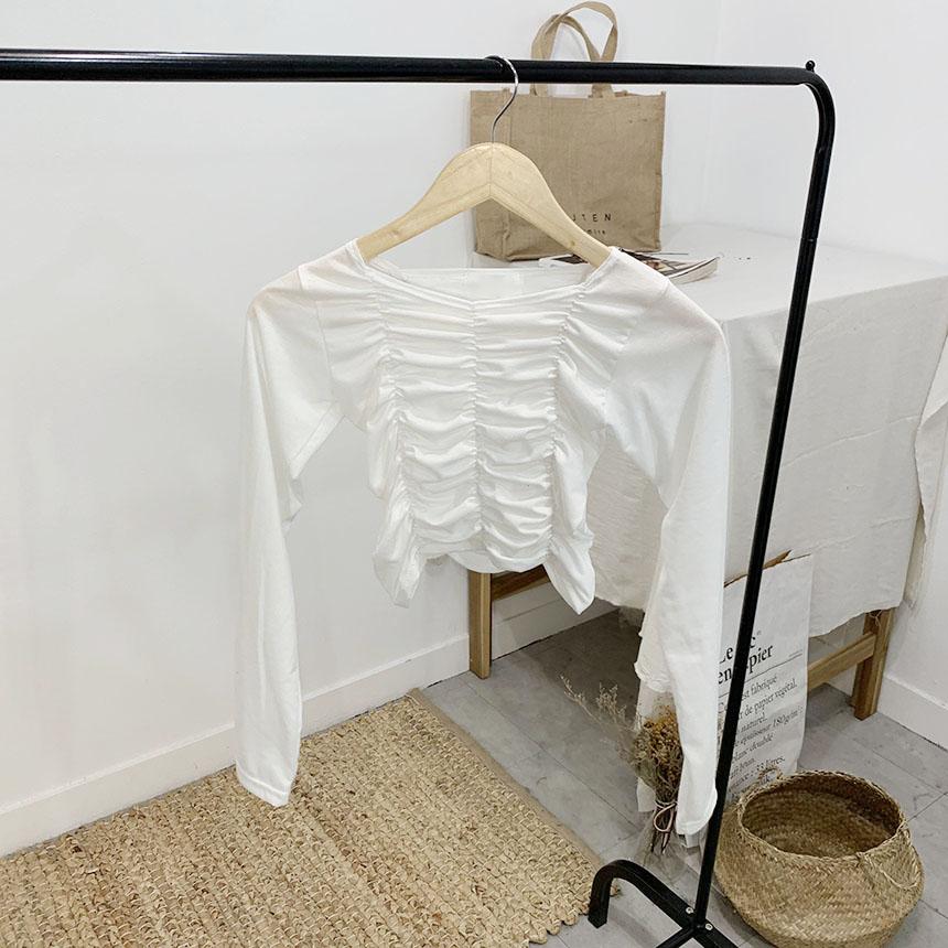 Fury Shirring Square Neck Crop Long Sleeve T-Shirt