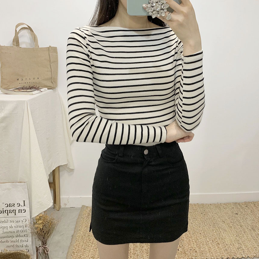 Furen stripe off shoulder long sleeve t-shirt