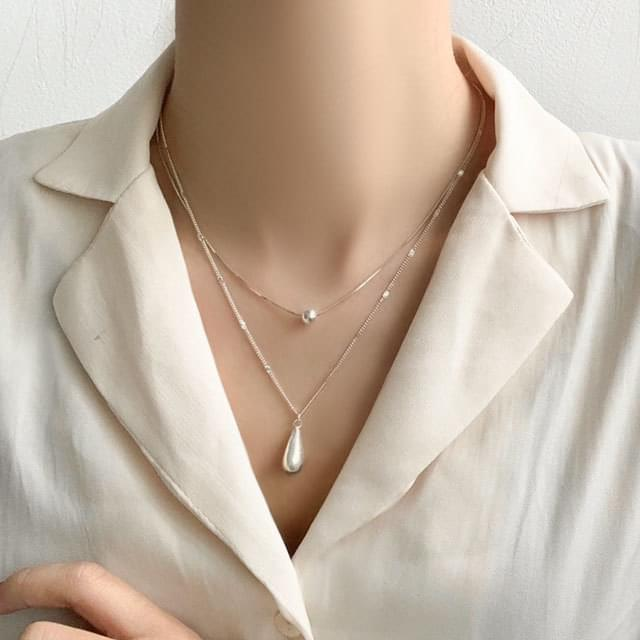 Waterdrop mine silver 925 layered necklace