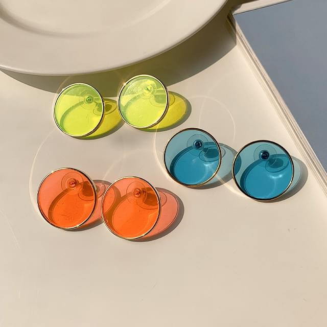 Neon Tint Round Point Earrings