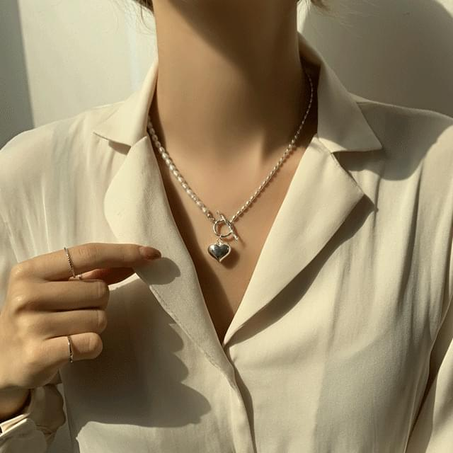 Rise bold heart pearl silver 925 necklace