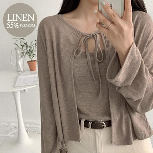 Linen ribbon cardigan set Cardigan & Vest