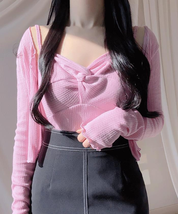 ♥ Jelly Knot Nashi Cardigan set Cardigan & Vest