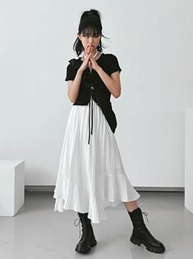 Unbal Lumi Pleated Long Skirt