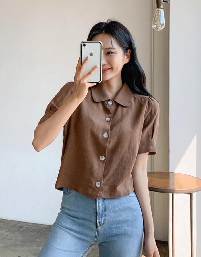 韓國空運 - Natural linen blouse 襯衫