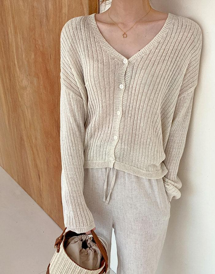Butter linen ribbed knit cardigan Cardigan & Vest