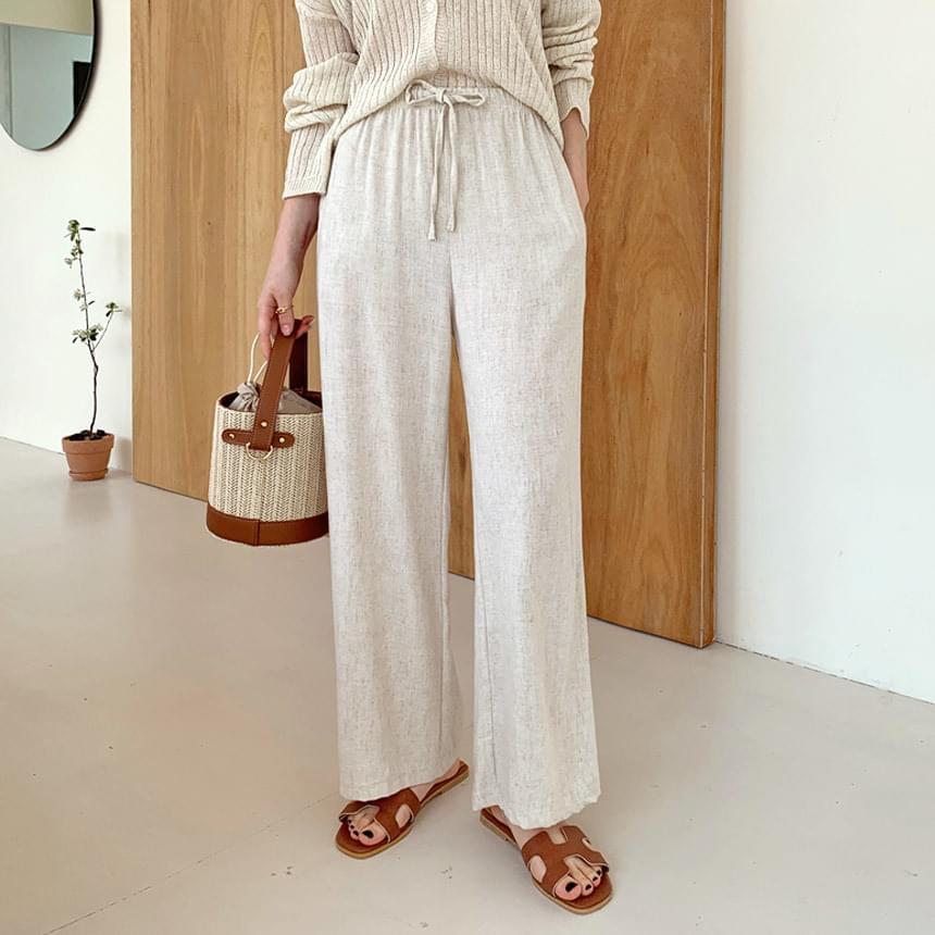 Slub linen wide banding pants