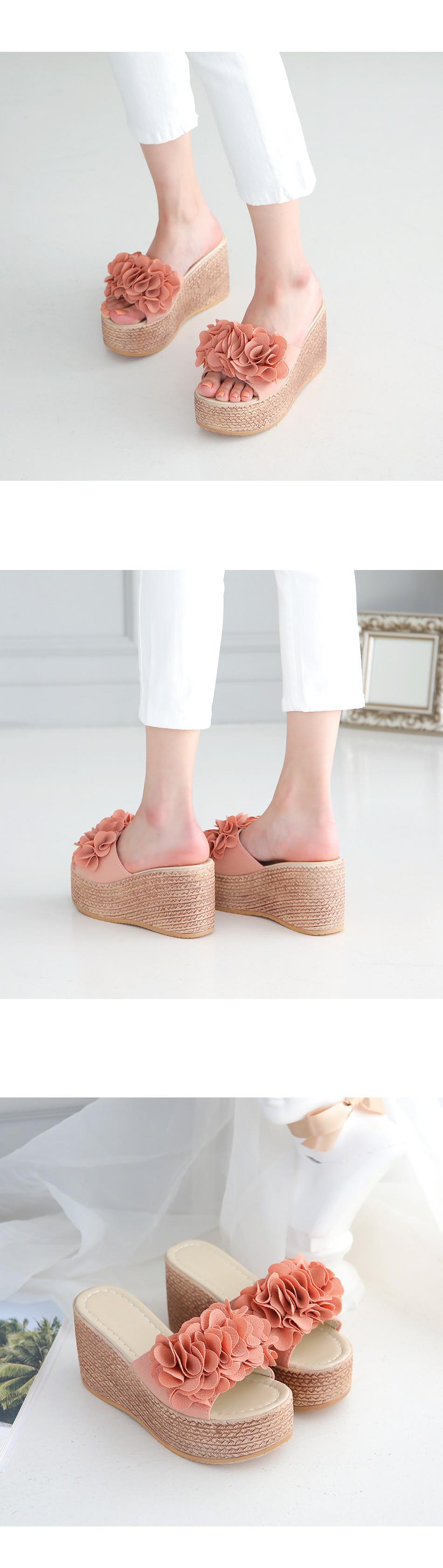 Purense hose wedge slippers 9cm