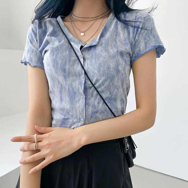 Tie-dye tuy cropped cardigan