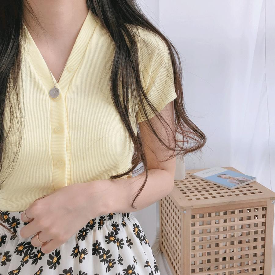 韓國空運 - V-neck cropped cardigan 針織外套