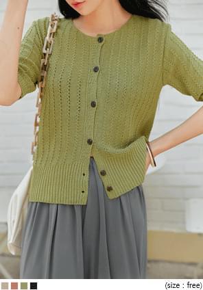 圆领短袖排扣纯色针织开衫