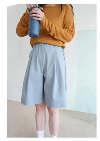 A-line cotton half pants (2colors)