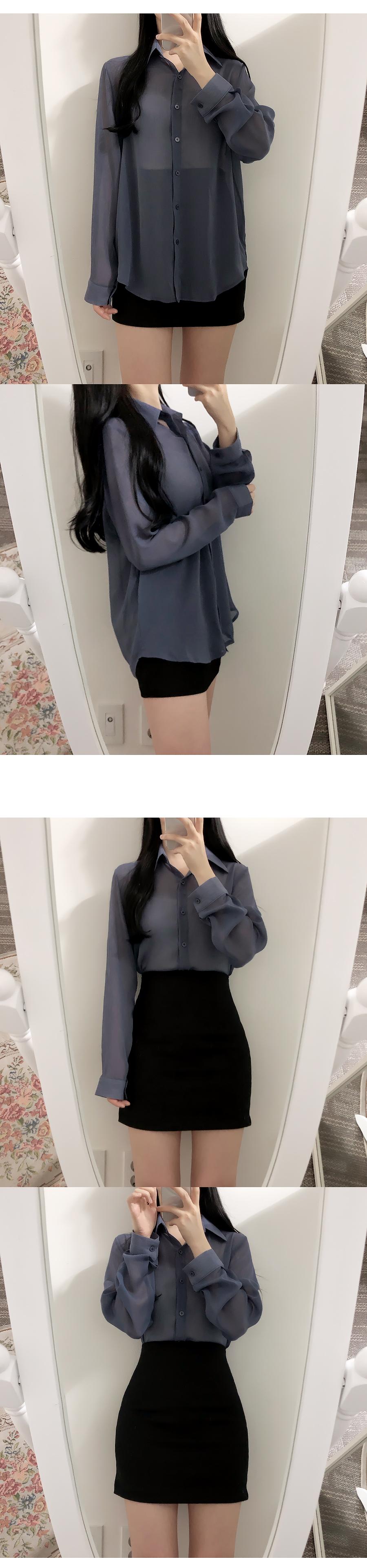 Self-made ♥ Nudie see-through shirtblouse