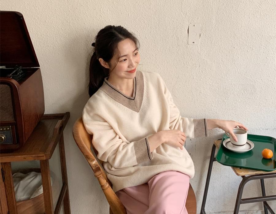 Ven v-neck wool knit_C (size : free)