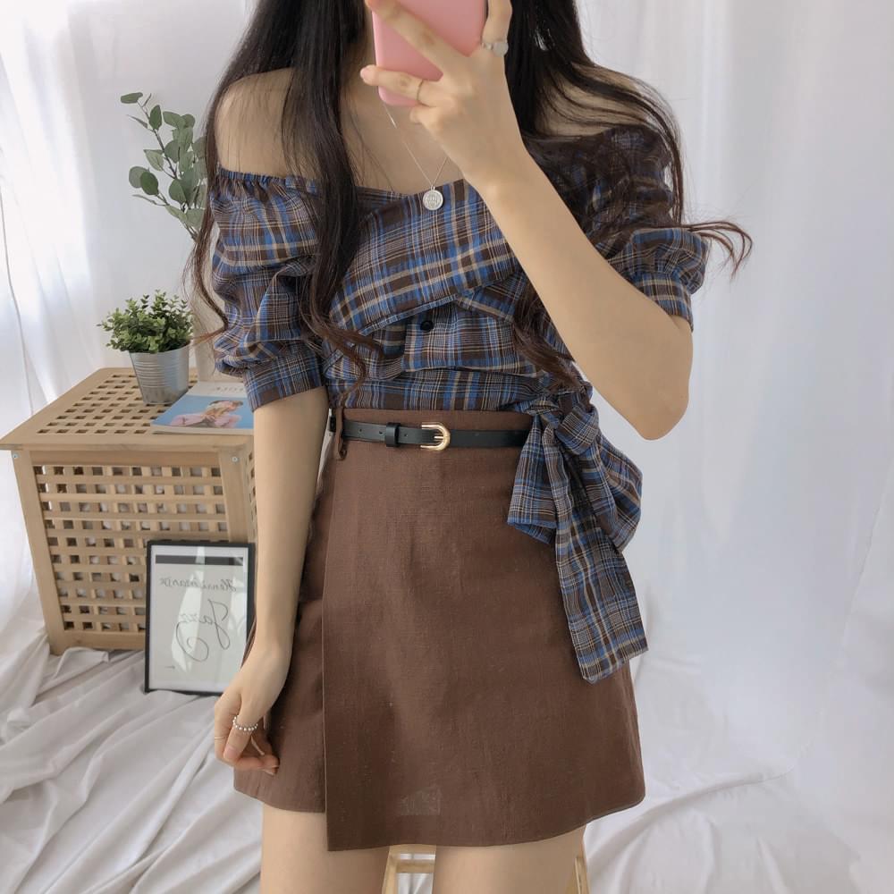 Checkwrap two-way blouse
