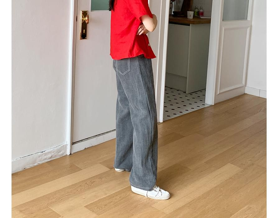 Moris stitch linen pants_K (size : S,M)