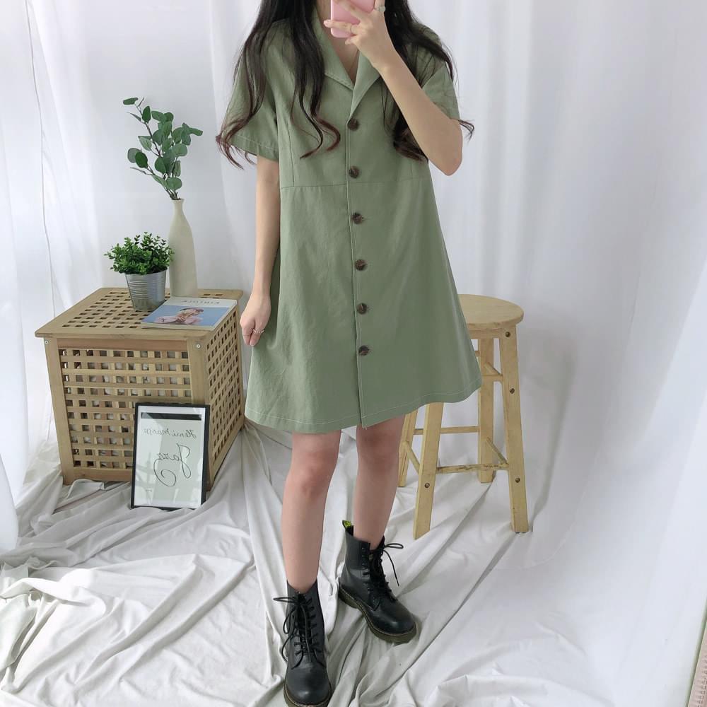 Comma collar button dress