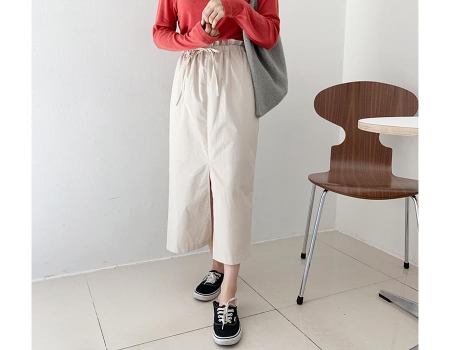 Front slit long skirt_C