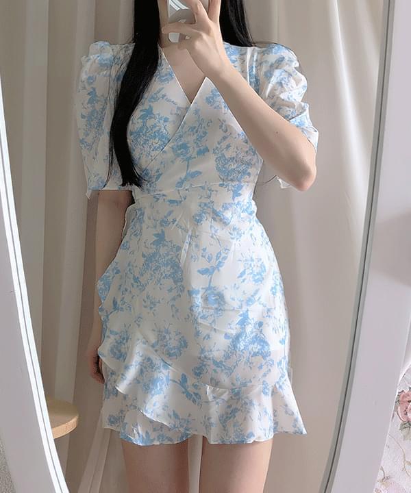 Water Blossom Wrap Frill Dress
