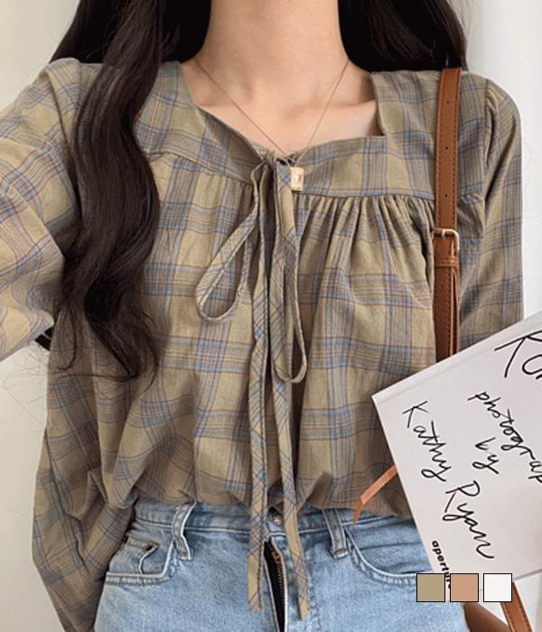 House check linen blouse 襯衫